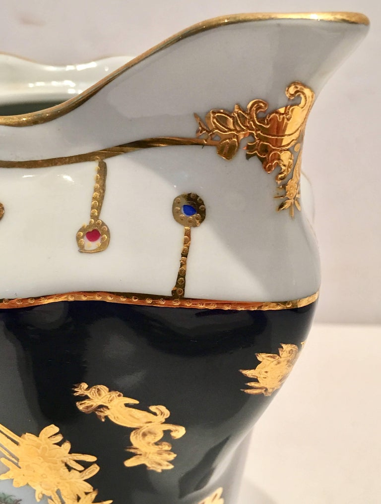 Vintage French Sevres Style Limoges Cobalt And Gold Footed