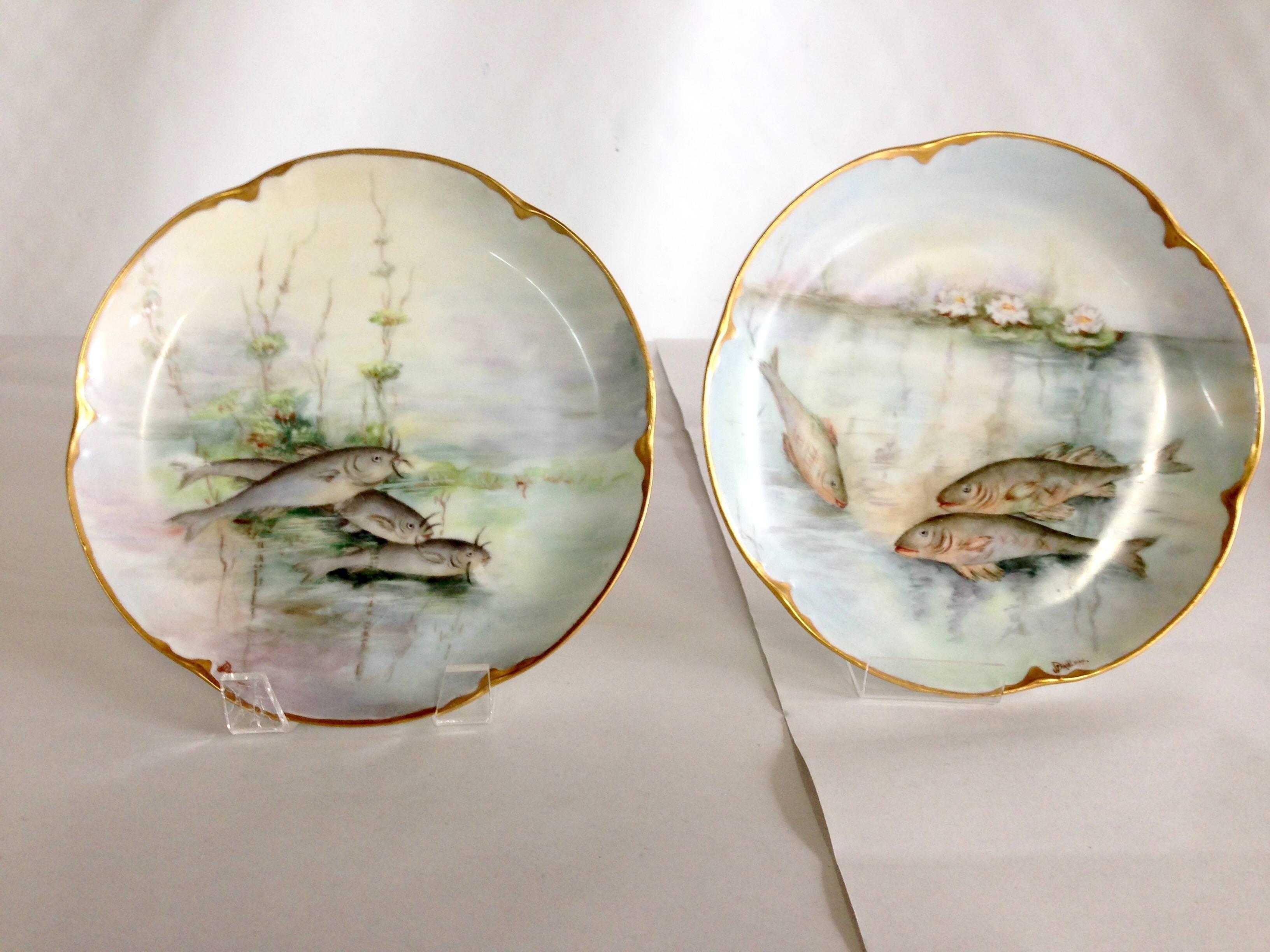 Antique Haviland Limoge and JHR Bavaria Porcelain Fish Service Set of Seven For Sale at 1stdibs & Antique Haviland Limoge and JHR Bavaria Porcelain Fish Service Set ...