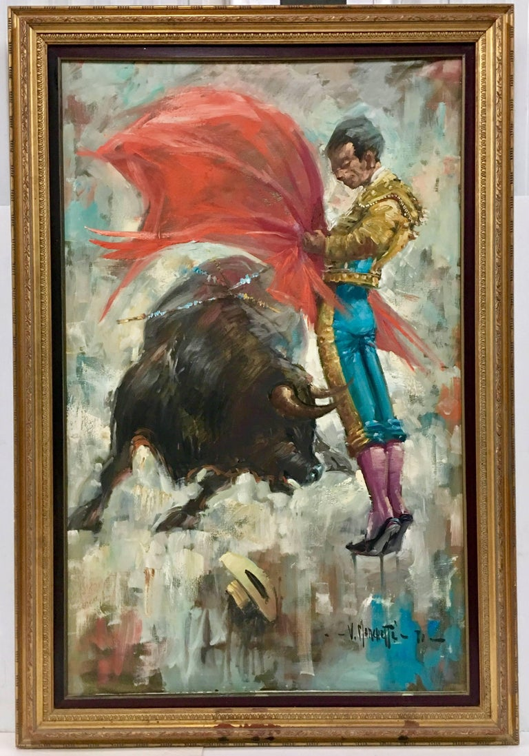 Original oil on canvas painting matador by v marchetti for Original oil paintings for sale by artist