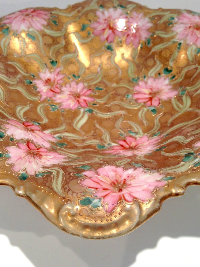 Antique Japanese Royal Nippon Hand Painted Gilt Moriage Floral Ruffle Bowl At 1stdibs