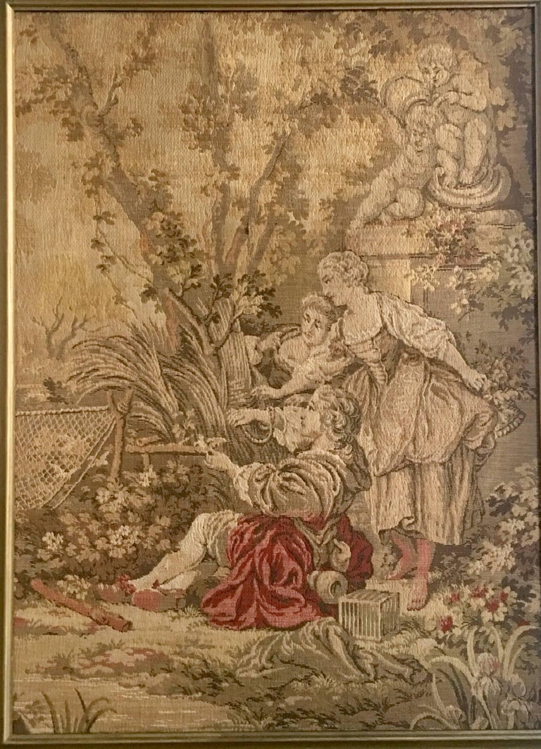 Belgian Mid-Century Belgium Aubusson Style Framed Tapestry For Sale