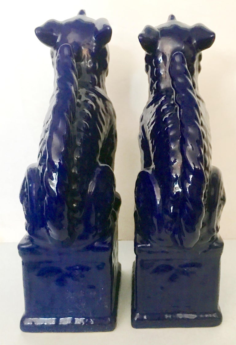 Contemporary Pair Of Chinese Ceramic Glaze Cobalt Foo Dog Sculptures For Sale 1