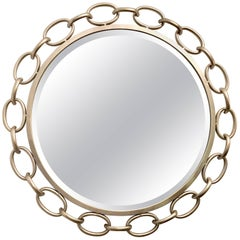 Contemporary Silver Leaf Chain Link Rope Mirror