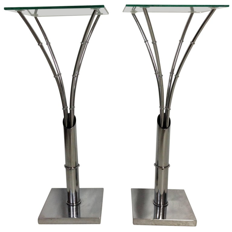1970s modern pair of chrome faux bamboo and glass top tall side tables. Base is 12