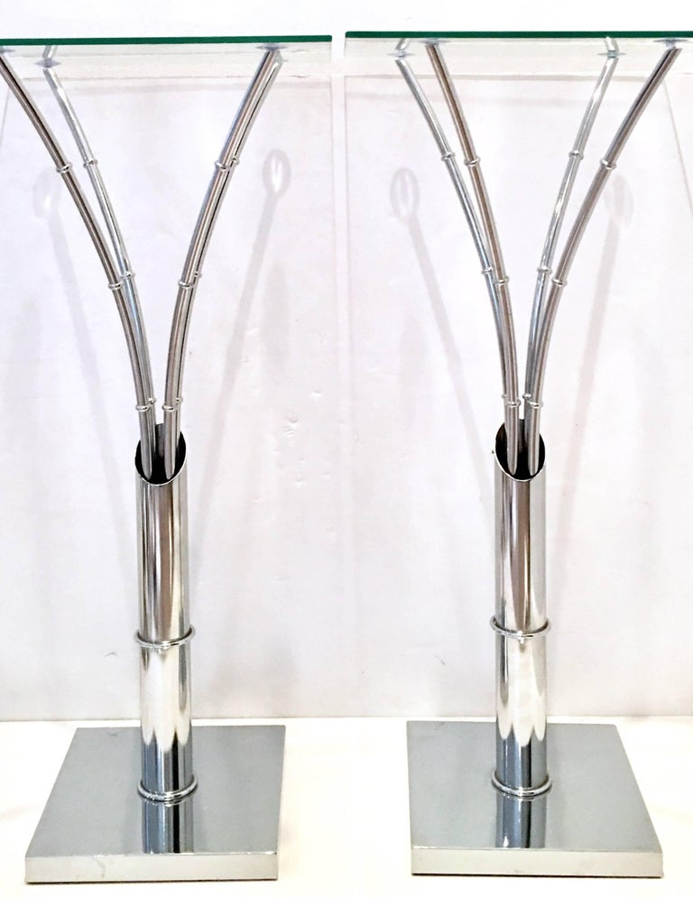 Modern 1970s Pair of Chrome Faux Bamboo Glass Top Tall Side Tables For Sale