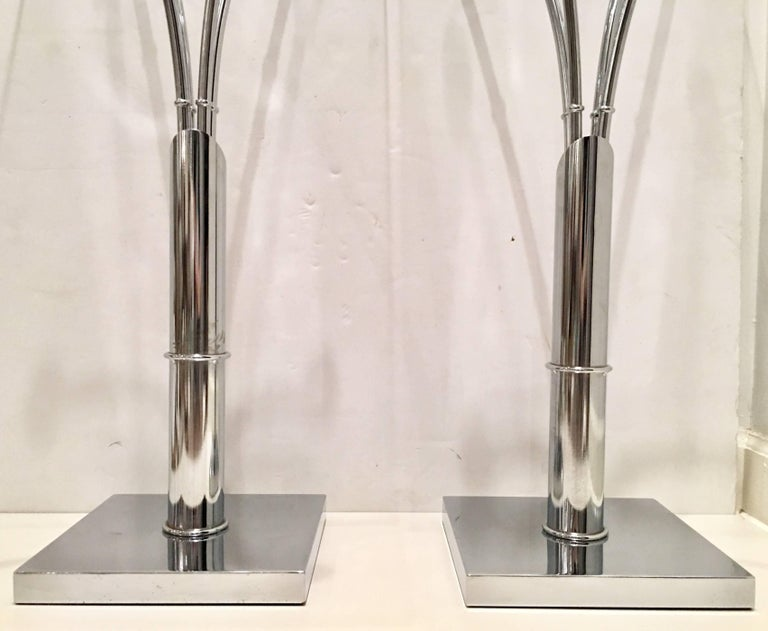 American 1970s Pair of Chrome Faux Bamboo Glass Top Tall Side Tables For Sale