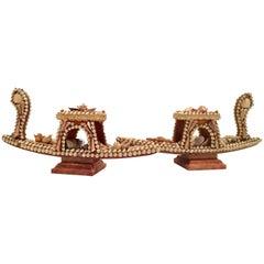 "19th Century Pair Of Italian ""Sailor's Valentine"" Sea Shell Gondola Table Lamps"