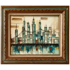 "Mid-Century Modern Original Oil On Canvas ""Cityscape"" Painting By, Hadley"