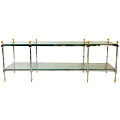 1970s French Steel Chrome and Gilt Brass Two-Tier Glass Top Table