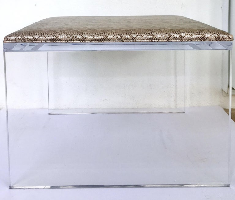 Contemporary Lucite upholstered bench or table. Custom fabricated with 1