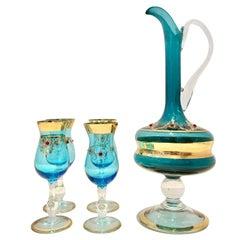 20th Century Italian Venetian Glass and 22-Karat Gold Drinks Set of 5 Pieces