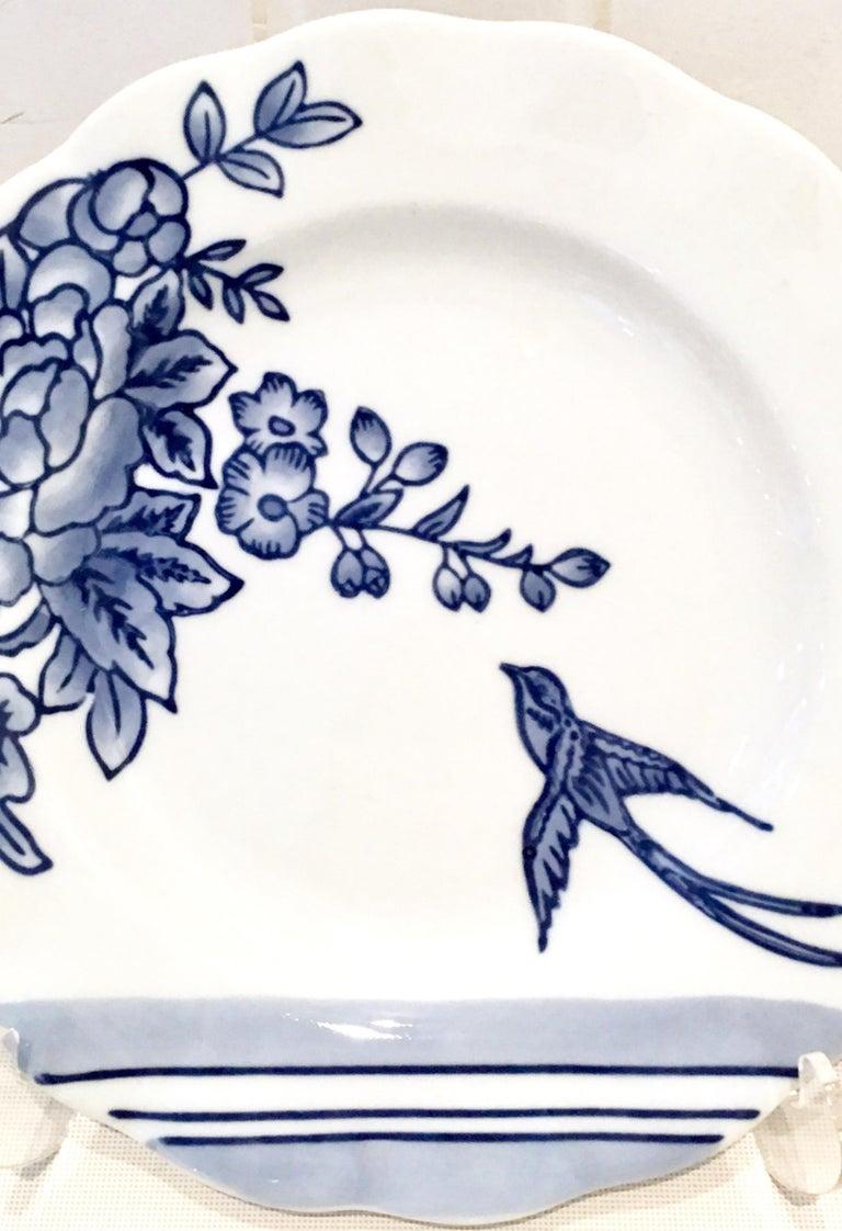 20th Century Vintage Ceramic Blue & White Salad/Dessert Plates S/9 by, Creativeco-Op For Sale
