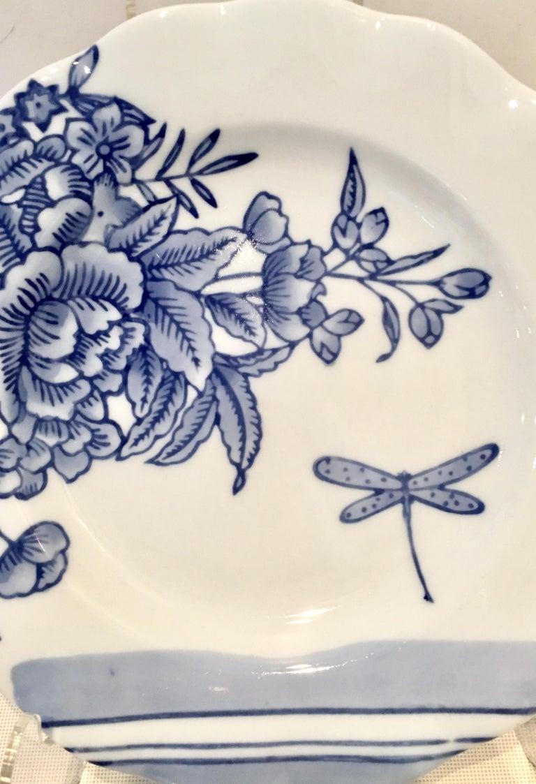 Vintage Ceramic Blue & White Salad/Dessert Plates S/9 by, Creativeco-Op For Sale 2