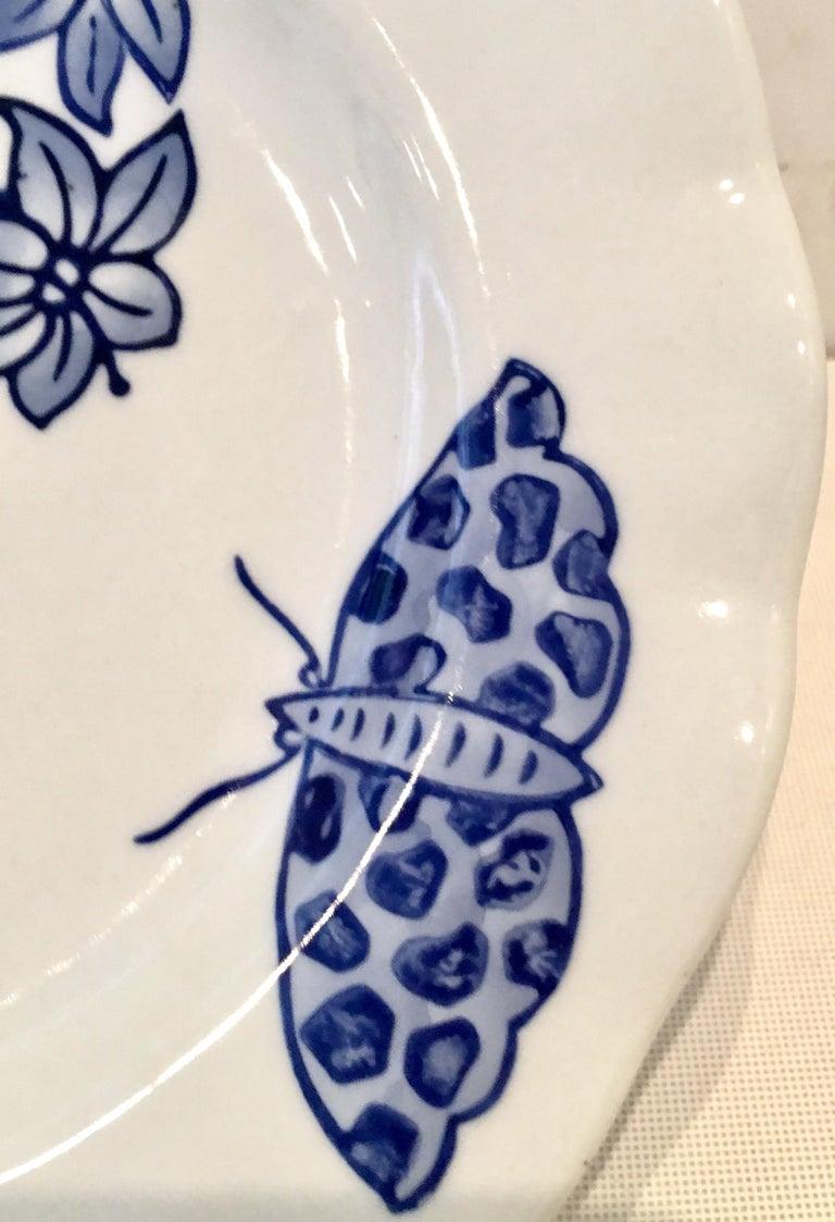 Vintage Ceramic Blue & White Salad/Dessert Plates S/9 by, Creativeco-Op For Sale 3
