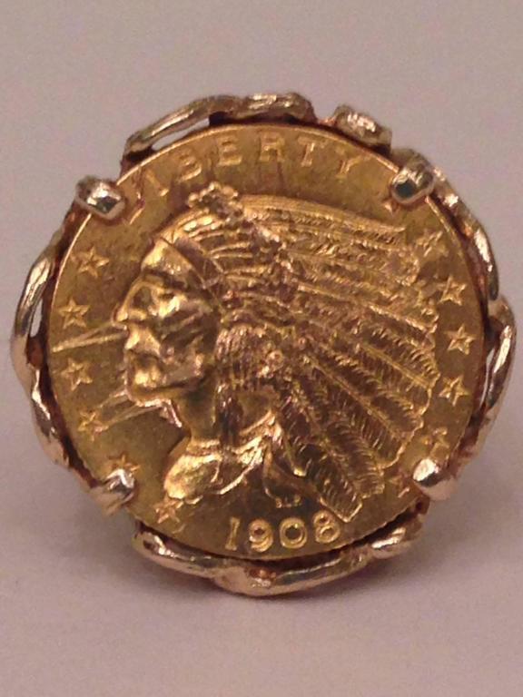 1908 14 karat Gold Indian Head Liberty Coin Ring Artist Signed at