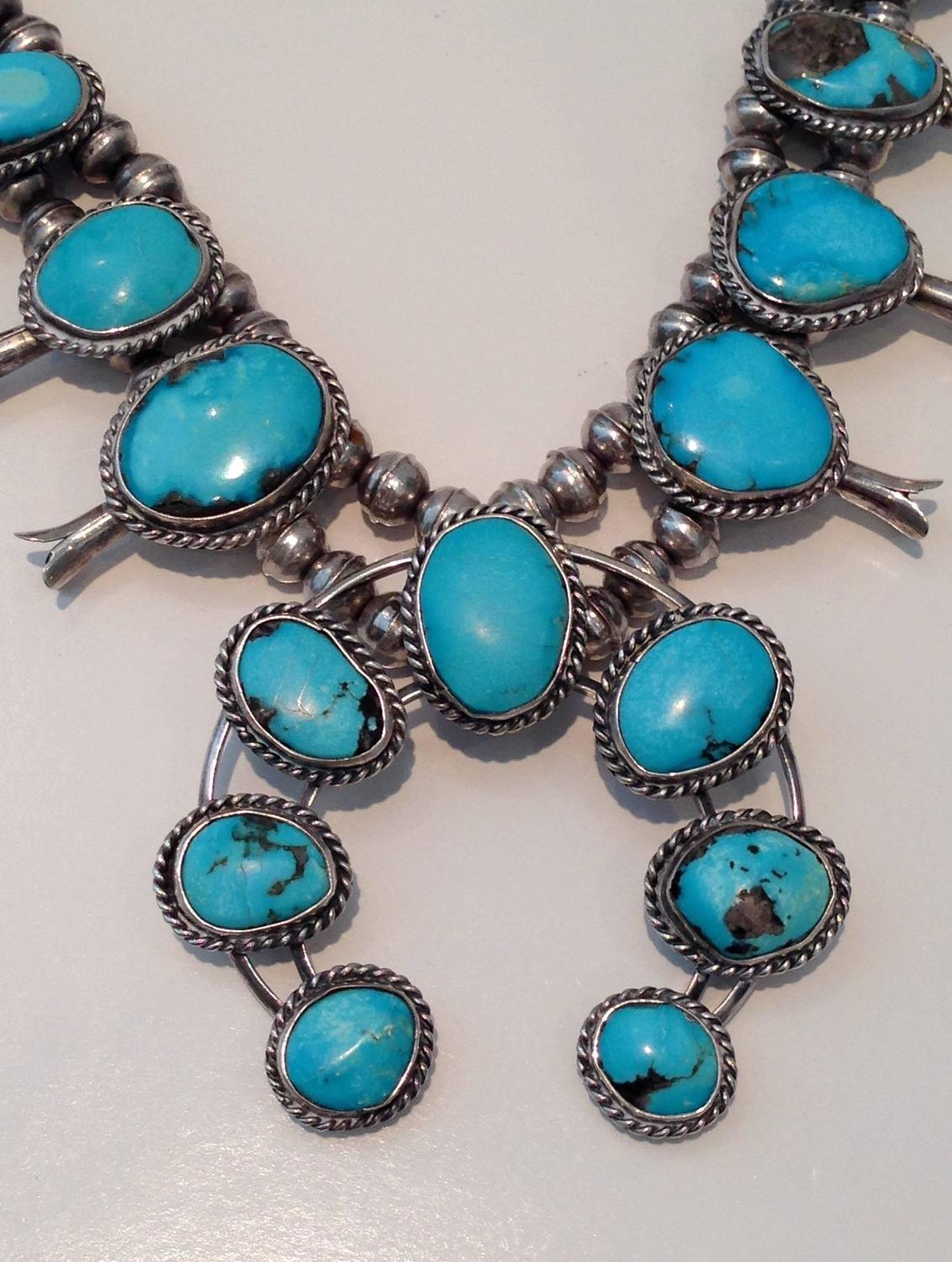 1960s navajo sterling silver and turquoise squash blossom