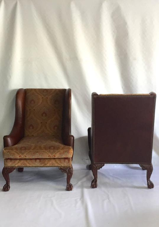 Leather Ottomans Set Of Three ~ Henredon leather george ii period wing chairs and ottoman
