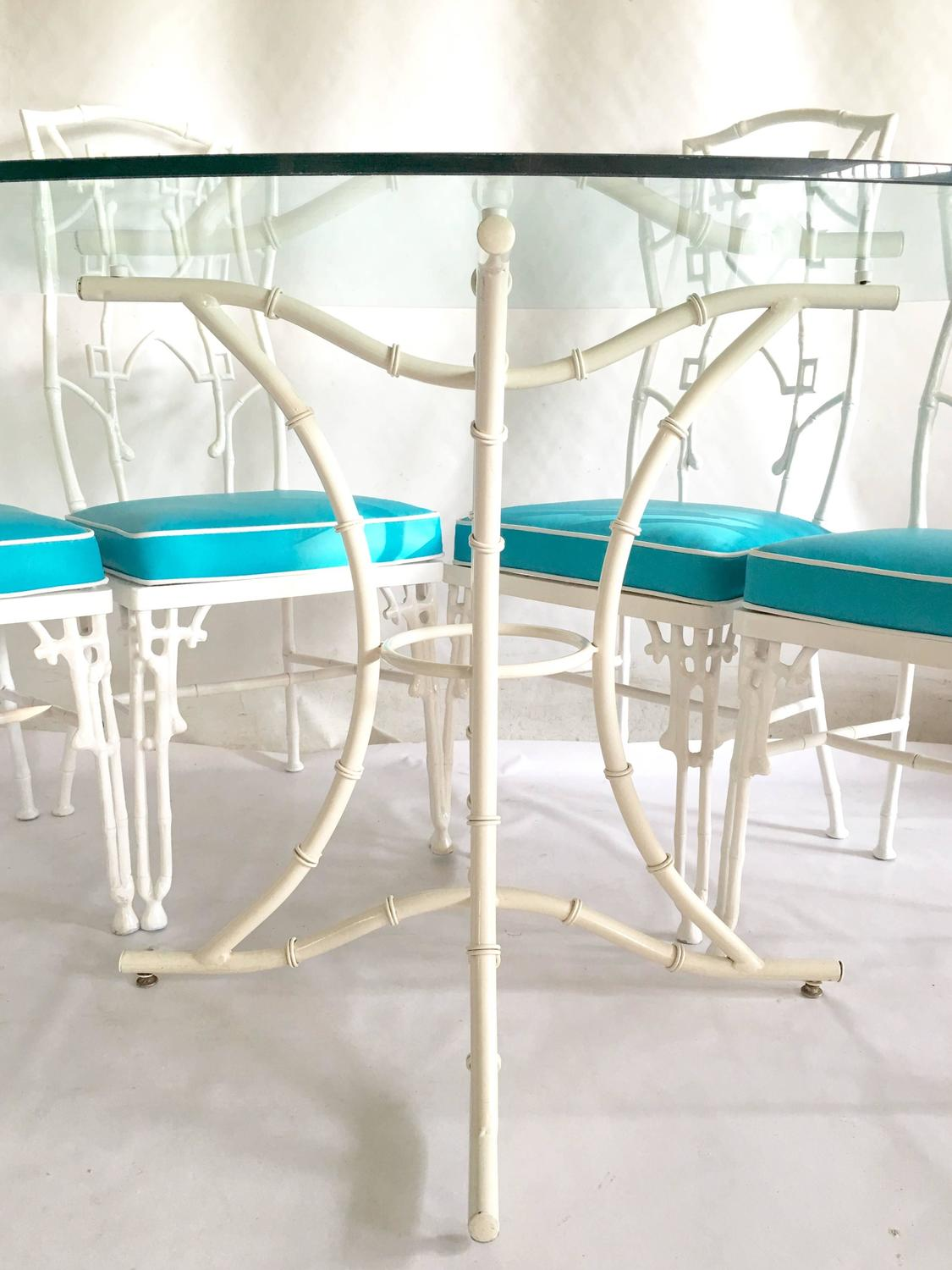 1960s faux bamboo six piece cast iron glass top table and for Cast iron and glass dining table