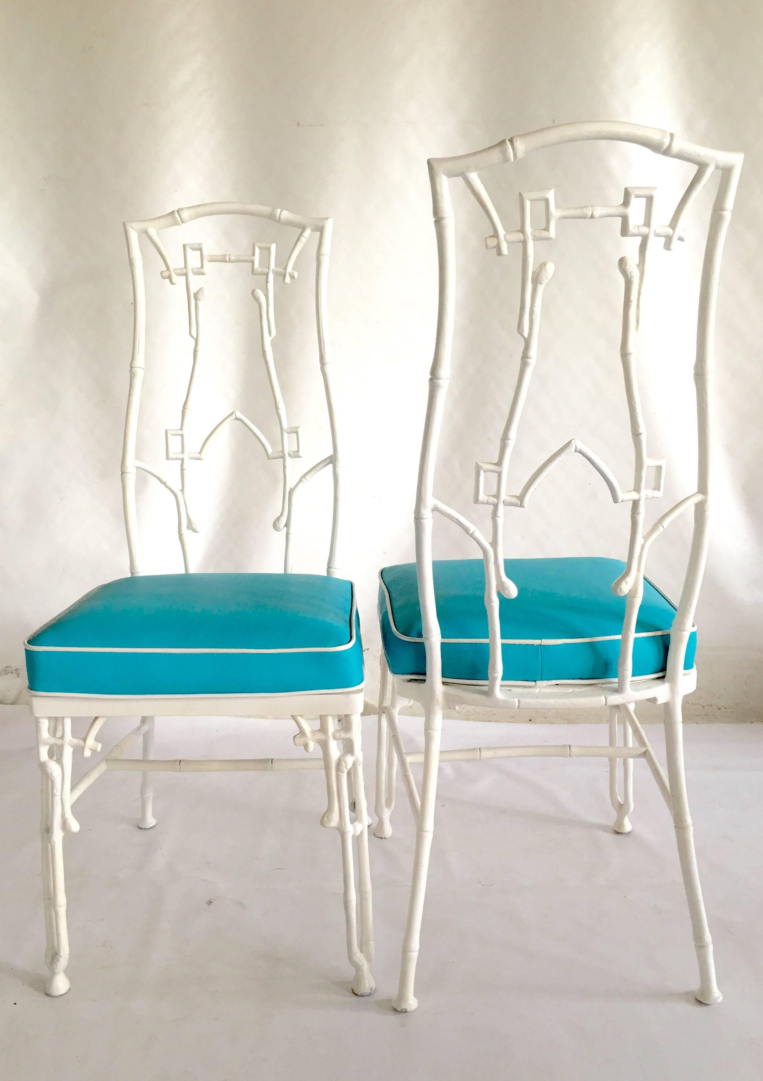 1960s Faux Bamboo Six-Piece Cast Iron Glass Top Table and Chairs at ...