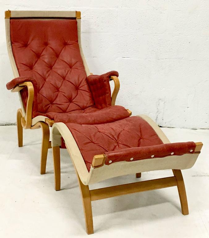 Bruno Mathsson Quot Pernilla Quot Leather And Bentwood Lounge