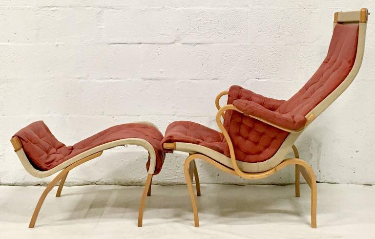 Scandinavian Modern 70u0027S Scandinavian Leather, Bentwood Lounge Chair U0026  Ottoman By Mathsson ...
