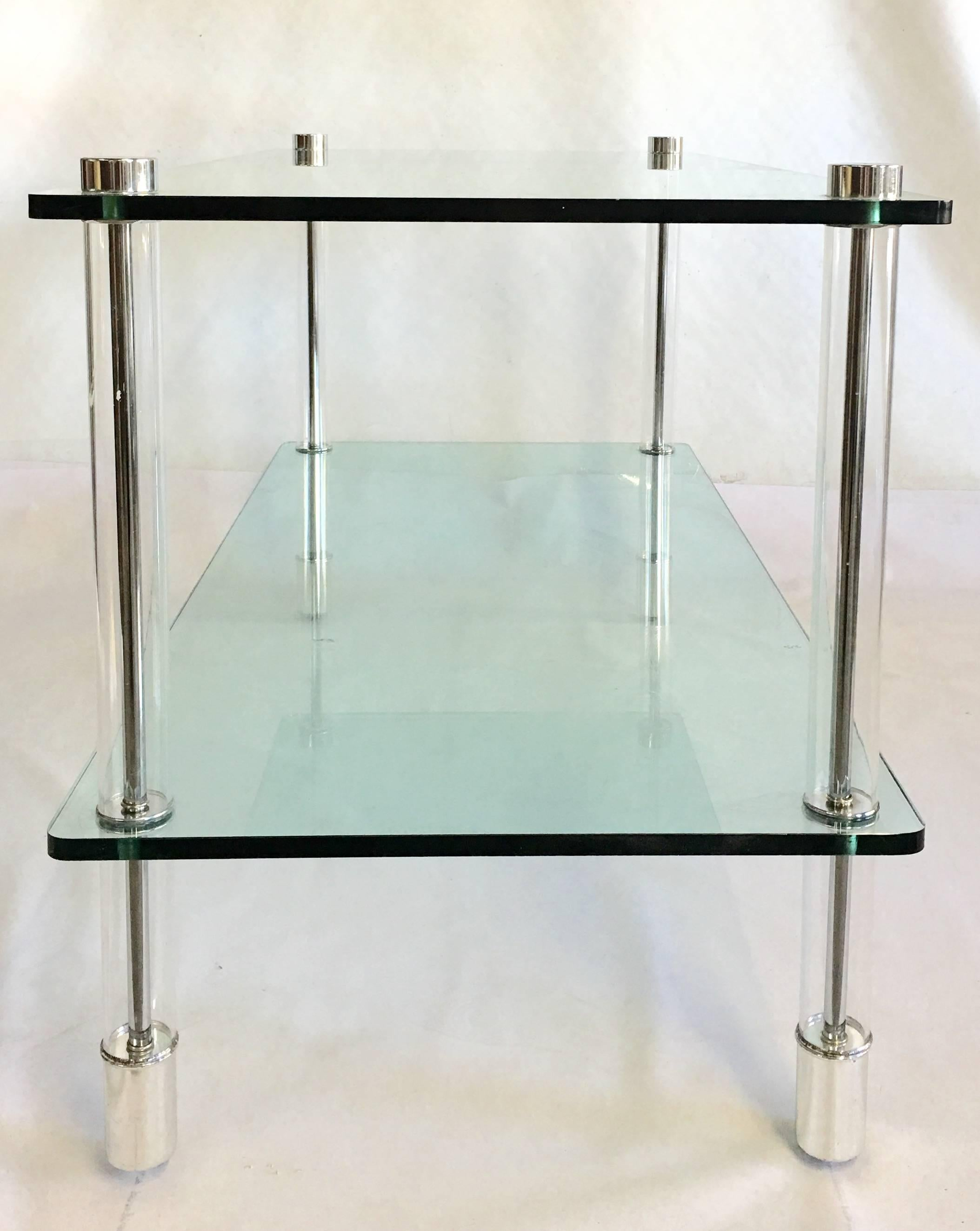 20th Century Lucite and Chrome Two-Tier Glass Top Table By, Pace ...