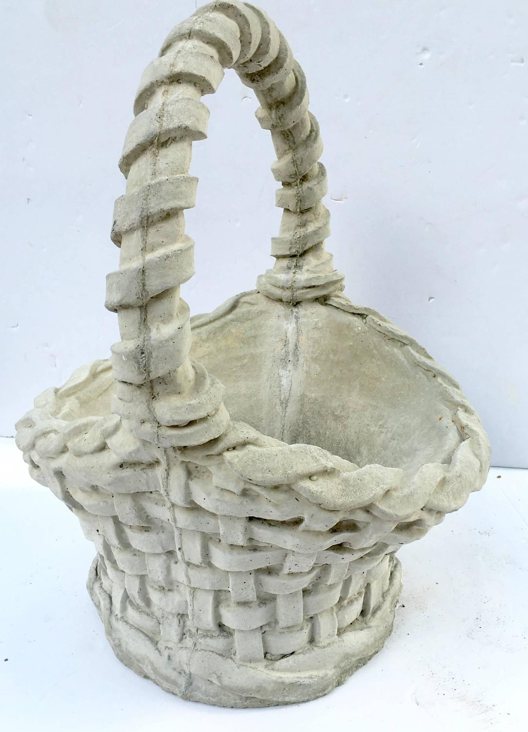 Pair Of Concrete Basket Weave Basket Planters For Sale At