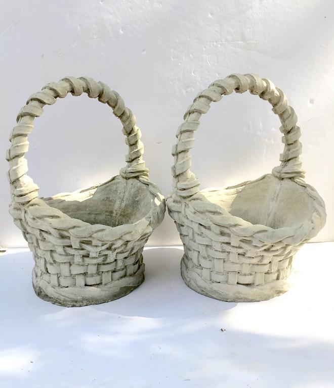 Pair Of Concrete Basket Weave Basket Planters At 1stdibs