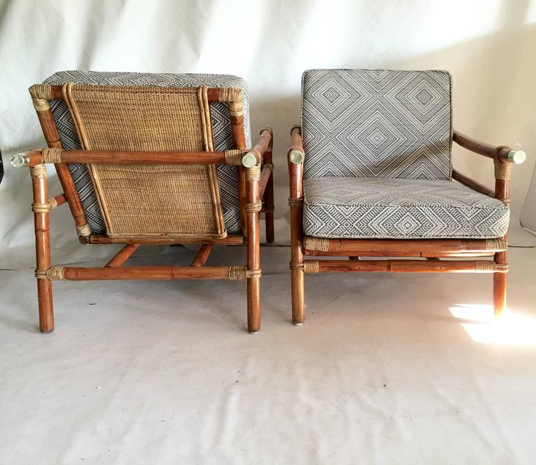 Campaign Set Of Rattan Lounge Chairs And Ottoman By Ficks Reed For Sale