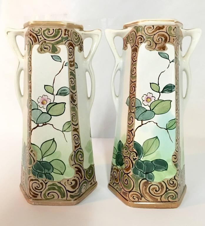 Pair Of Antique Royal Nippon Hand Painted Bird And Flora Panel Vases