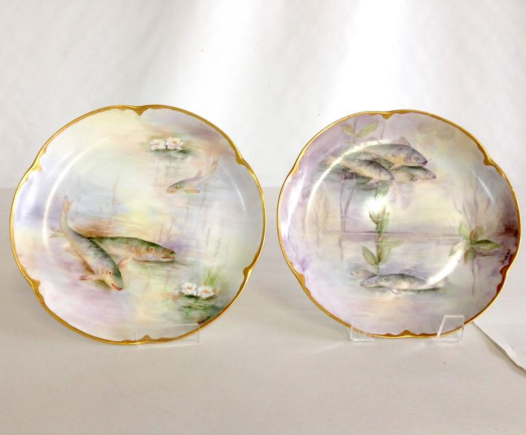 Antique Set of six Limoges France hand painted salad/dessert size porcelain with 22- & Antique French Limoges Hand-Painted 22-Karat Fish Plates S/6 at 1stdibs