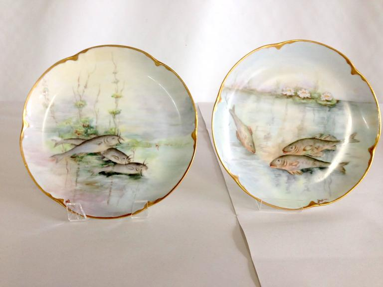 Antique French Limoges Hand-Painted 22-Karat Fish Plates S/6 In Excellent & Antique French Limoges Hand-Painted 22-Karat Fish Plates S/6 at 1stdibs
