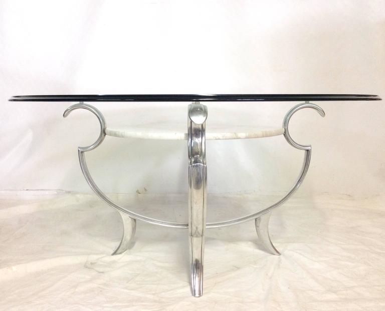 Henredon Silvered Iron Marble And Glass Top MultiTier Cocktail - Marble base glass top coffee table
