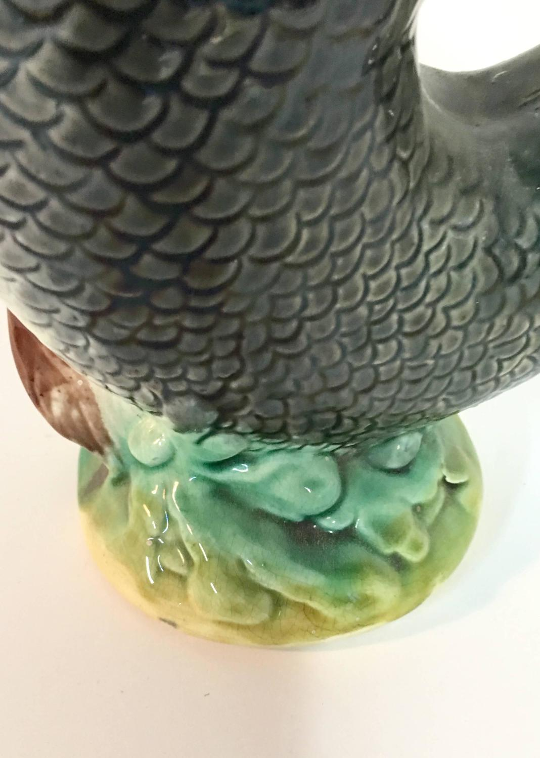 19th century english majolica fish gurgling pitcher signed at 1stdibs - Fish pitcher gurgle ...