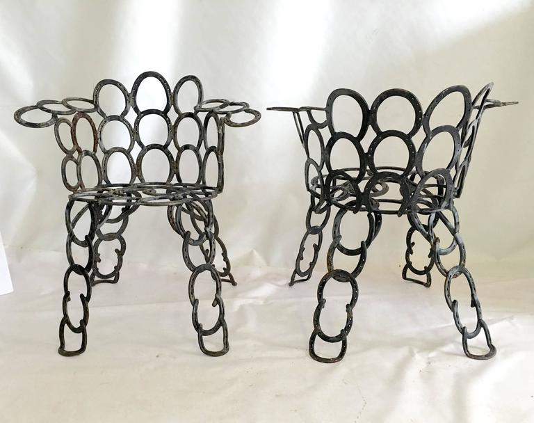Merveilleux Pair Of Hand Forged Cast Iron Horseshoe Chairs. Coveted Weathered Patina  Can Be Painted
