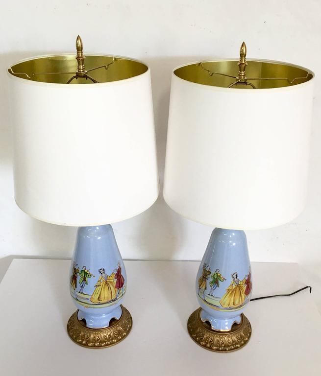 Vintage Pair Of French Blue Decalcomania Porcelain Motif