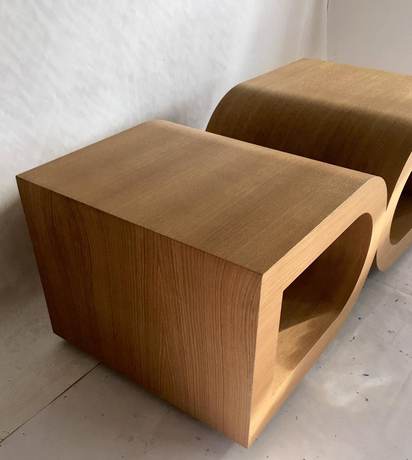 Pair of french bent beechwood side tables by thomas de - Tables de chevet roche bobois ...