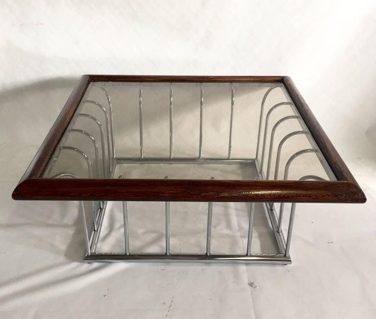 Glass Top Chrome Coffee Table: Vintage Milo Baughman Wood And Chrome Glass Top Cocktail