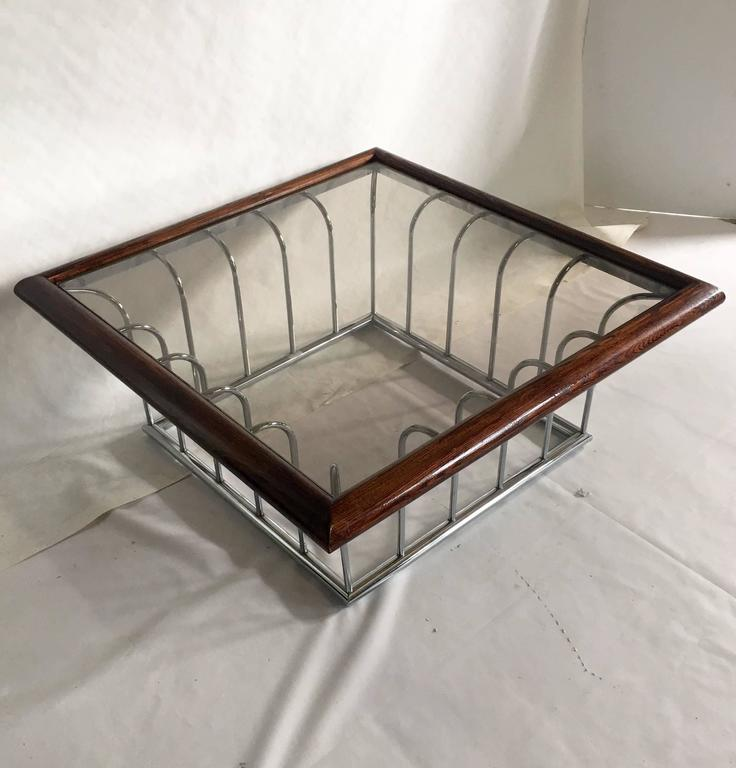 Chrome Coffee Table With Wood Top: Vintage Milo Baughman Wood And Chrome Glass Top Cocktail