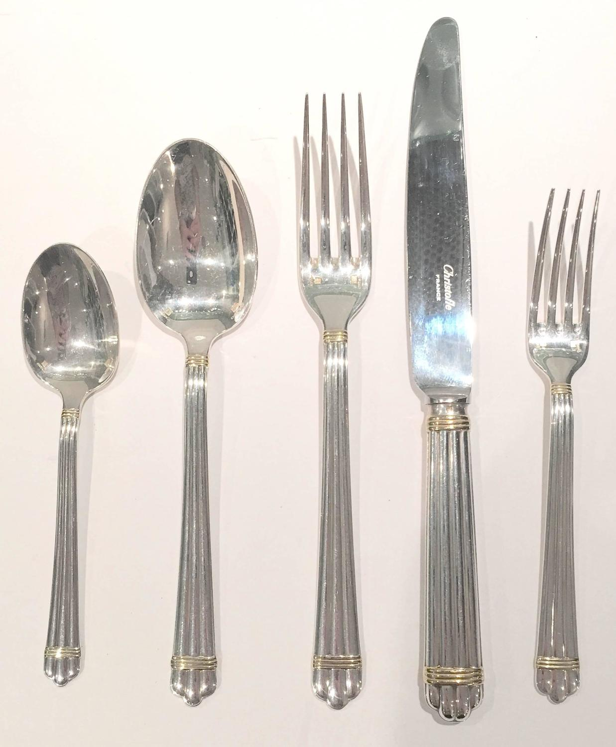 christofle silver aria gold silver plate 24 piece flatware set saturday sale at 1stdibs. Black Bedroom Furniture Sets. Home Design Ideas