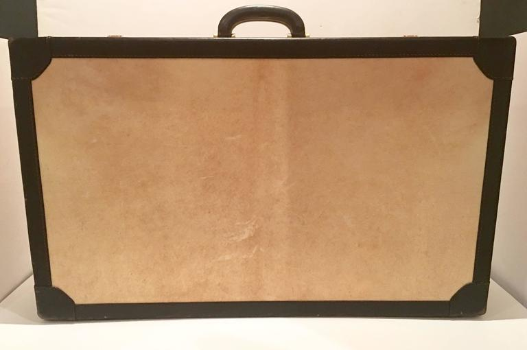 Vintage Italian Vellum and Leather Suitcase Made for Barney's New York In Excellent Condition In West Palm Beach, FL
