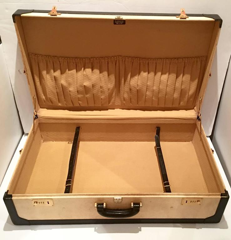 Brass Vintage Italian Vellum and Leather Suitcase Made for Barney's New York