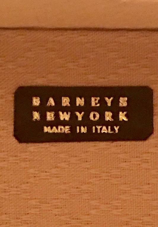 Vintage Italian Vellum and Leather Suitcase Made for Barney's New York 4