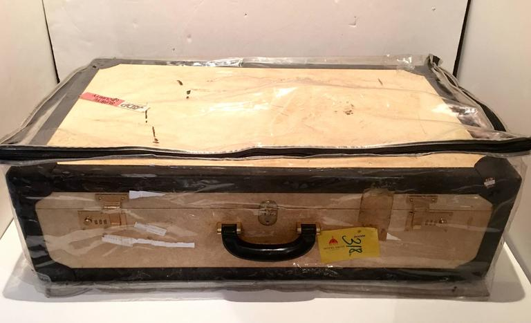 Vintage Italian Vellum and Leather Suitcase Made for Barney's New York 5