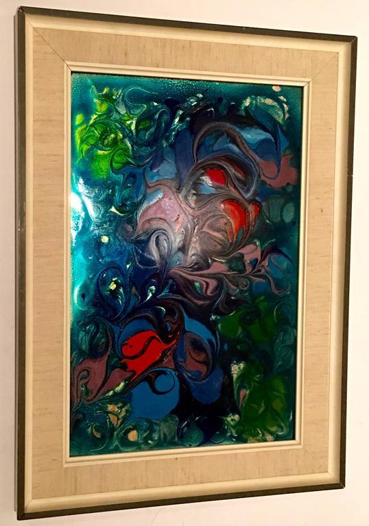 Original enamel on metal abstract painting signed for for Original abstract paintings for sale