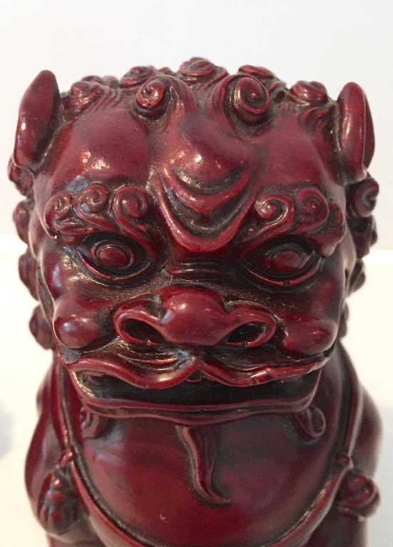 Antique Chinese Hand Carved Wood Foo Dog Pair For Sale At