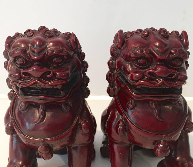 Antique Chinese Hand Carved Wood Foo Dog Pair For Sale At 1stdibs