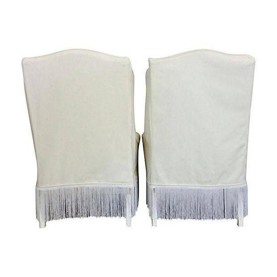Pair Of Tall White Cotton Slipcover Wingback Chairs For Sale At 1stdibs