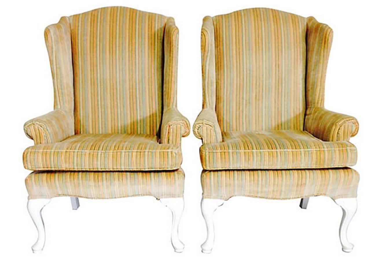 Pair of Tall White Cotton Slipcover Wingback Chairs For