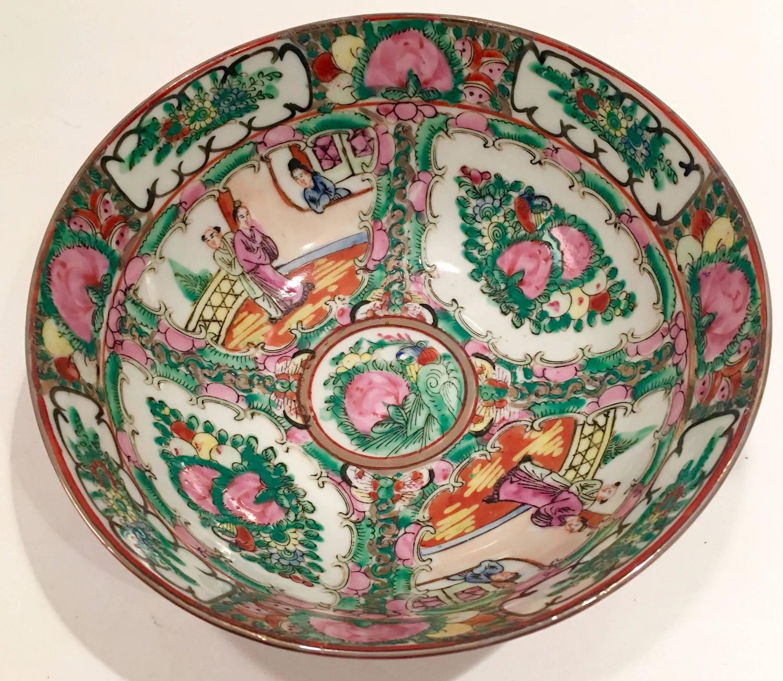 1970s Chinese Famille Rose Medallion Bowl Qianlong Da